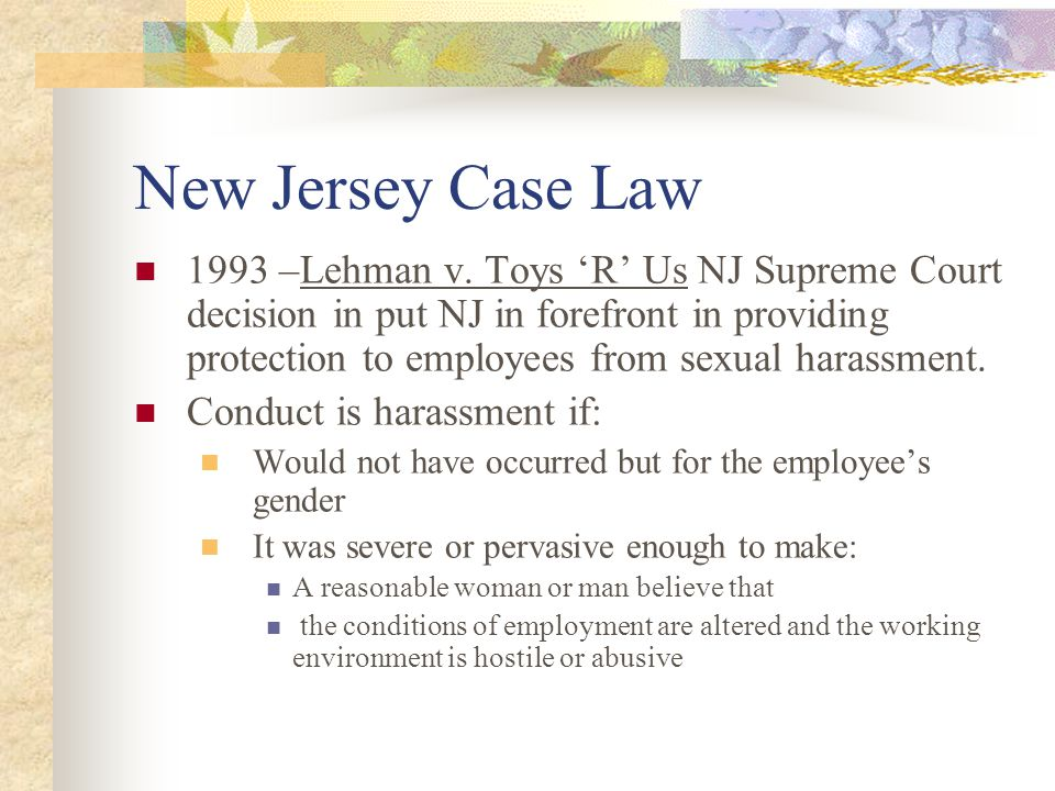 New Jersey Case Law 1993 –Lehman v.