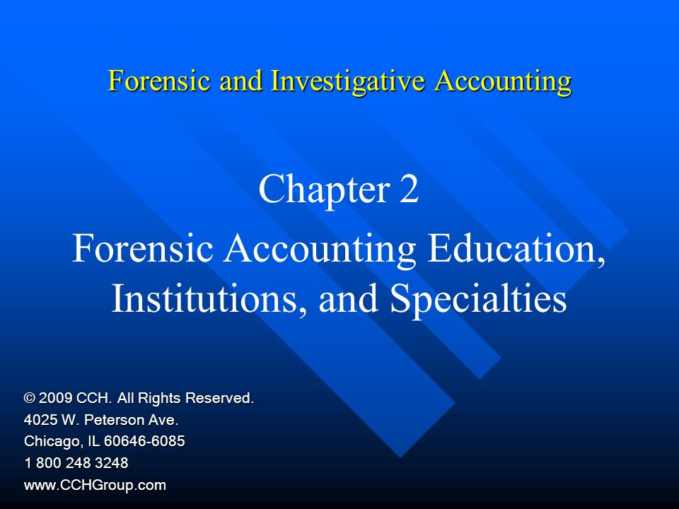 Chapter 2Forensic and Investigative Accounting12 Background in Forensic Accounting Accountants Accountants Consultants Consultants Internal auditors Internal auditors IRS auditors IRS auditors Government auditors Government auditors FBI agents FBI agents SEC accountants Bankruptcy specialists Professors Bank examiners Chief financial officers Valuators of closely held businesses A forensic accounting background is helpful in these professional specialties: