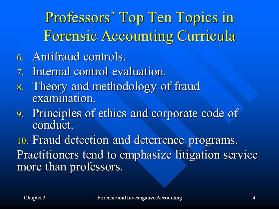 Chapter 2Forensic and Investigative Accounting5 Knowledge, Skills and Abilities Needed by Forensic Accountant Law, legal system, courts, and courtroom procedure.