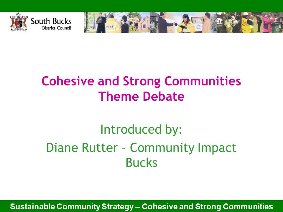 Sustainable Community Strategy – Cohesive and Strong Communities Cohesive and Strong Communities Theme Debate Introduced by: Diane Rutter – Community Impact Bucks