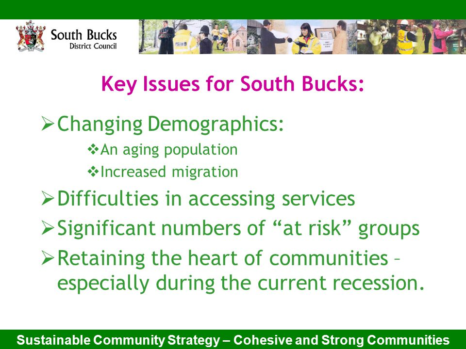 Sustainable Community Strategy – Cohesive and Strong Communities Key Issues for South Bucks:  Changing Demographics:  An aging population  Increased migration  Difficulties in accessing services  Significant numbers of at risk groups  Retaining the heart of communities – especially during the current recession.