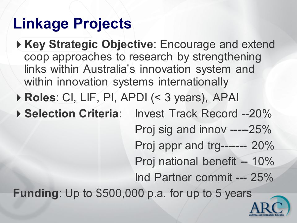 Linkage Projects  Key Strategic Objective: Encourage and extend coop approaches to research by strengthening links within Australia's innovation syst