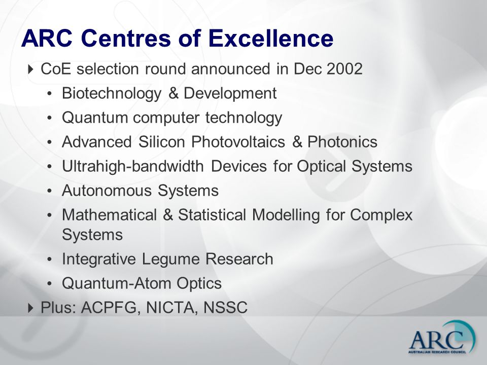 ARC Centres of Excellence  CoE selection round announced in Dec 2002 Biotechnology & Development Quantum computer technology Advanced Silicon Photovo