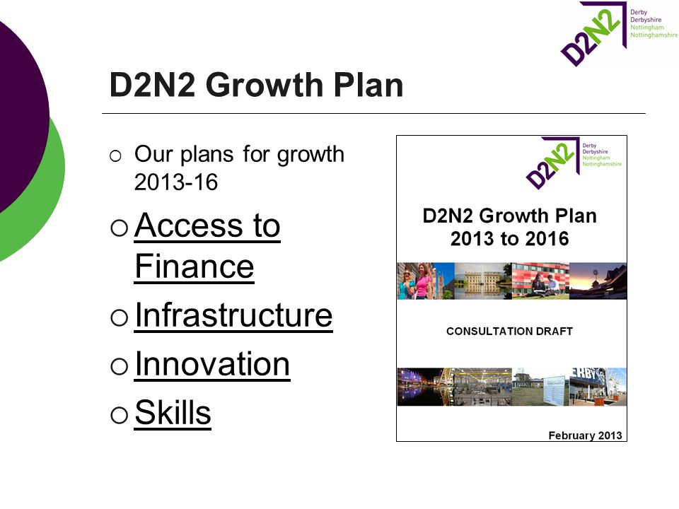 D2N2 Growth Plan  Our plans for growth 2013-16  Access to Finance  Infrastructure  Innovation  Skills