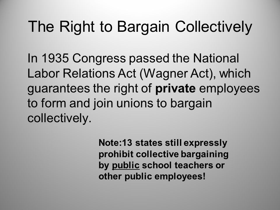The Right to Bargain Collectively In 1935 Congress passed the National Labor Relations Act (Wagner Act), which guarantees the right of private employees to form and join unions to bargain collectively.