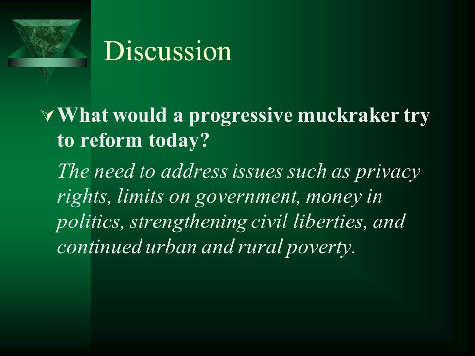 Discussion  What would a progressive muckraker try to reform today.
