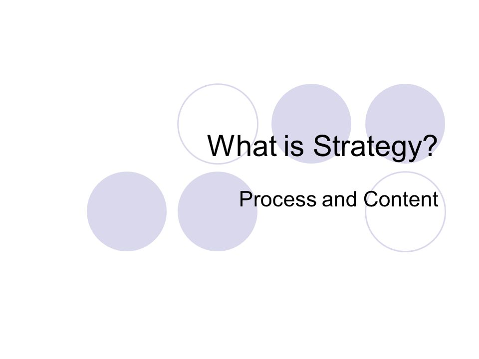 What is Strategy? Process and Content
