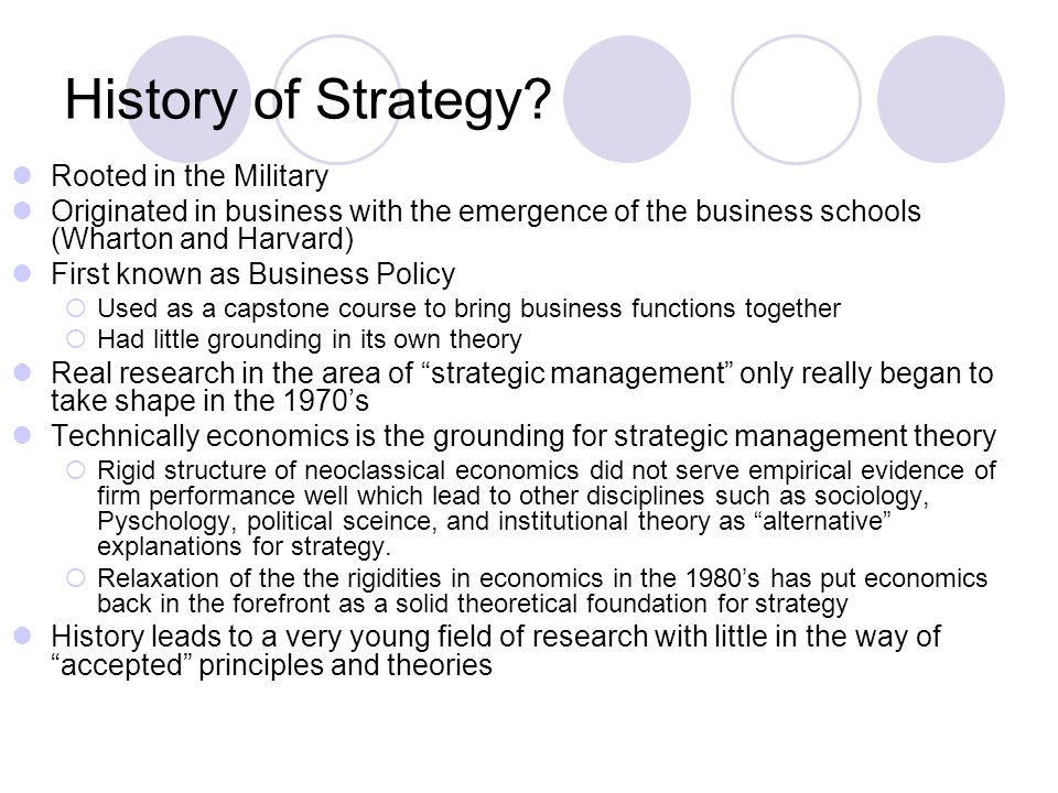 History of Strategy? Rooted in the Military Originated in business with the emergence of the business schools (Wharton and Harvard) First known as Bus