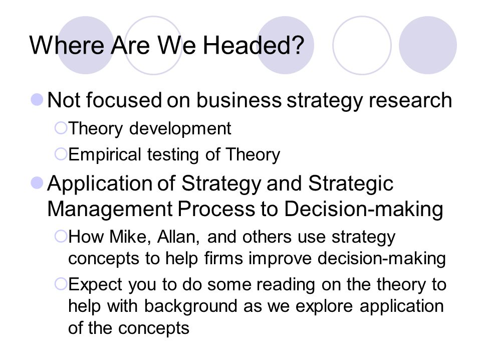 Where Are We Headed? Not focused on business strategy research  Theory development  Empirical testing of Theory Application of Strategy and Strategi