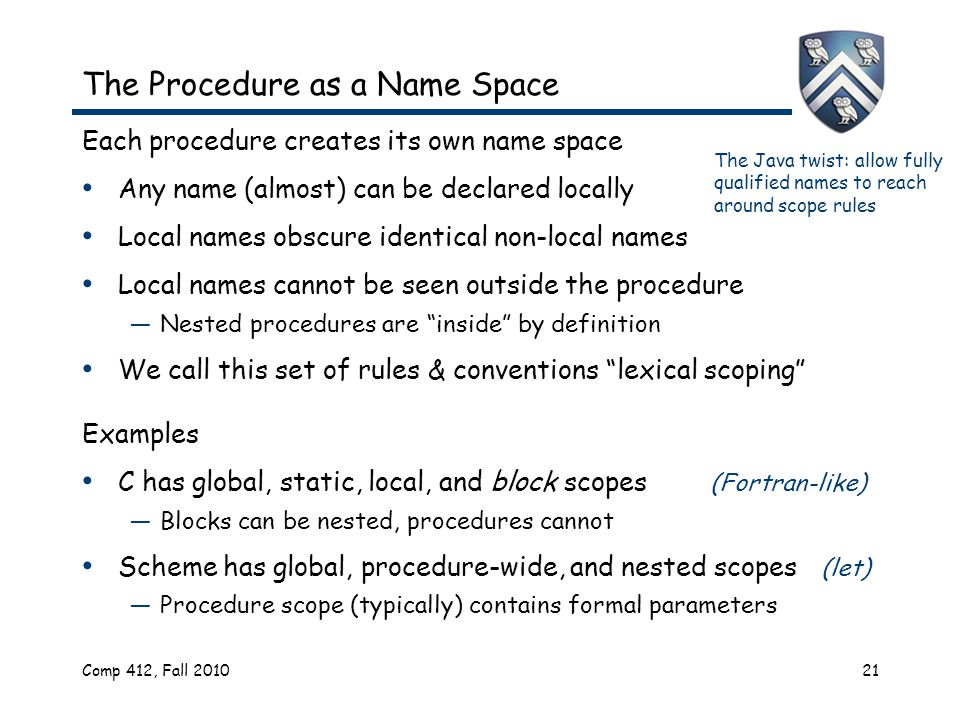 Comp 412, Fall 201021 The Procedure as a Name Space Each procedure creates its own name space Any name (almost) can be declared locally Local names obscure identical non-local names Local names cannot be seen outside the procedure —Nested procedures are inside by definition We call this set of rules & conventions lexical scoping Examples C has global, static, local, and block scopes (Fortran-like) —Blocks can be nested, procedures cannot Scheme has global, procedure-wide, and nested scopes (let) —Procedure scope (typically) contains formal parameters The Java twist: allow fully qualified names to reach around scope rules