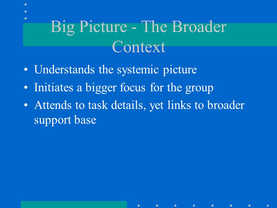 Big Picture - The Broader Context Understands the systemic picture Initiates a bigger focus for the group Attends to task details, yet links to broader support base