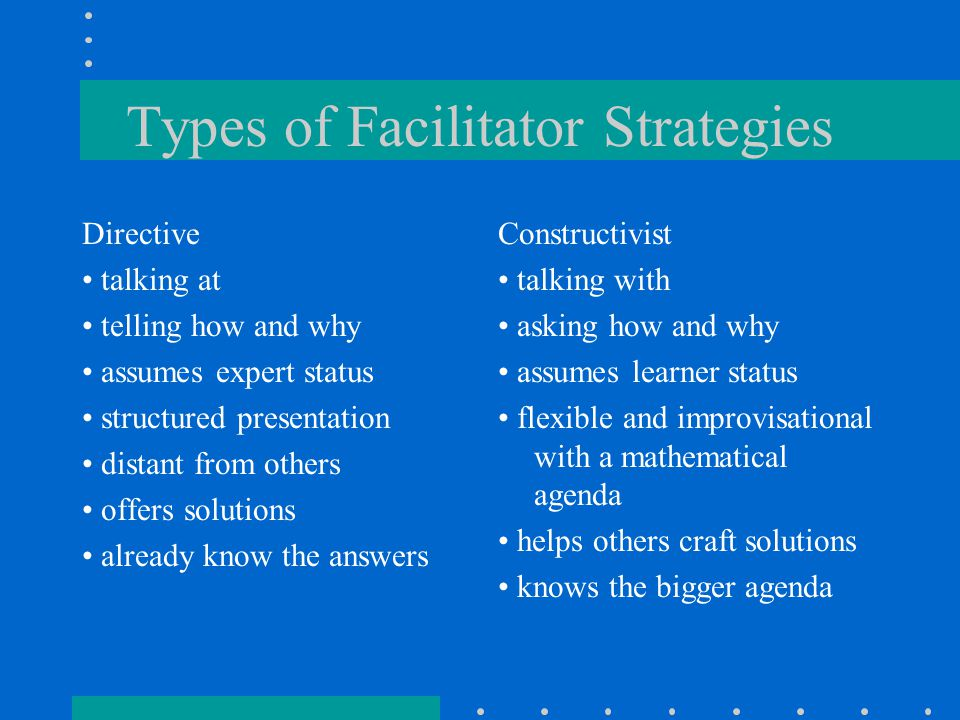 Types of Facilitator Strategies Directive talking at telling how and why assumes expert status structured presentation distant from others offers solutions already know the answers Constructivist talking with asking how and why assumes learner status flexible and improvisational with a mathematical agenda helps others craft solutions knows the bigger agenda