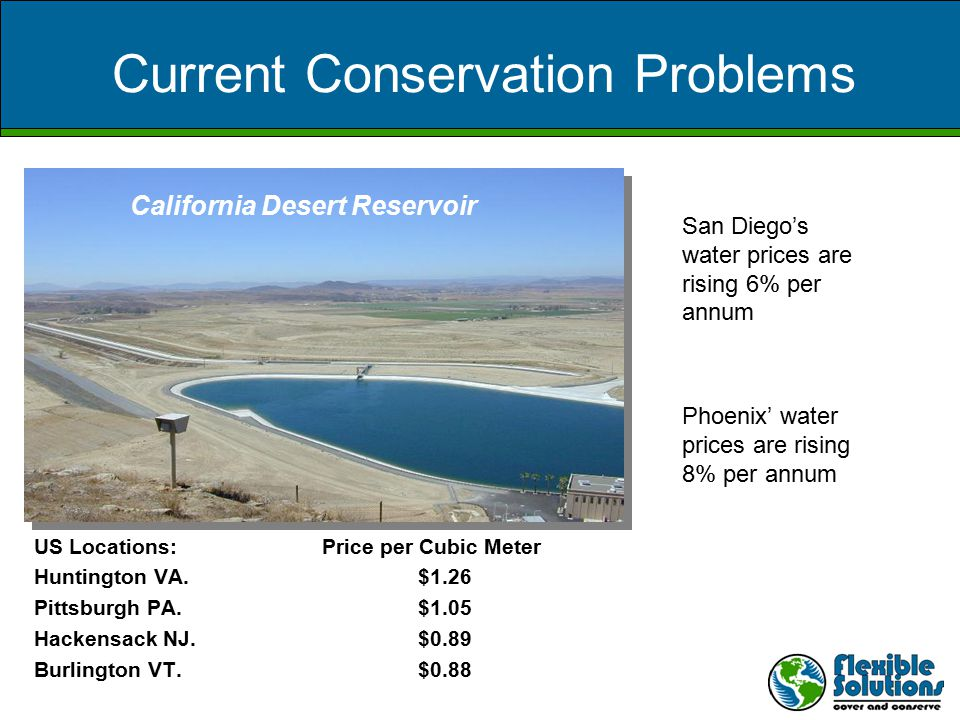 Current Conservation Problems California Desert Reservoir San Diego's water prices are rising 6% per annum Phoenix' water prices are rising 8% per annum US Locations:Price per Cubic Meter Huntington VA.$1.26 Pittsburgh PA.$1.05 Hackensack NJ.$0.89 Burlington VT.$0.88