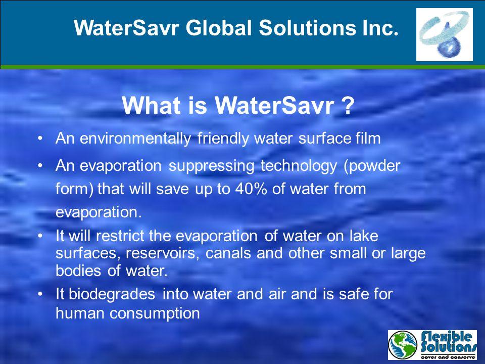 WaterSavr Global Solutions Inc. What is WaterSavr .