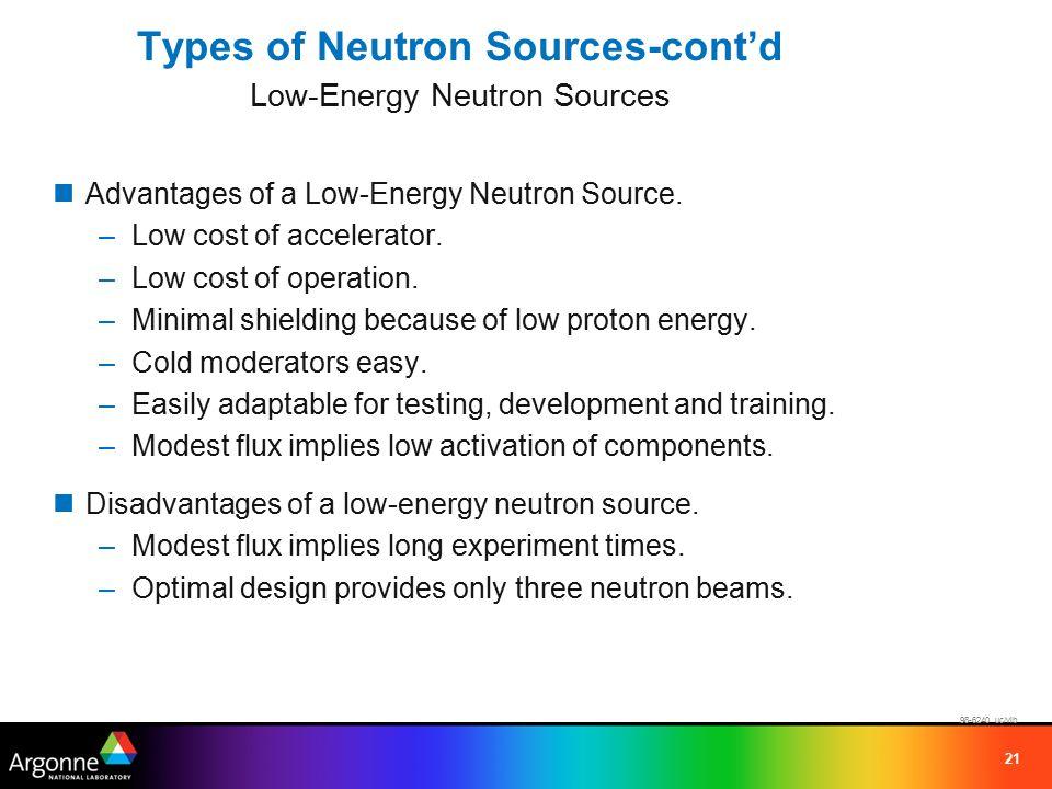 21 Types of Neutron Sources-cont'd Low-Energy Neutron Sources Advantages of a Low-Energy Neutron Source.