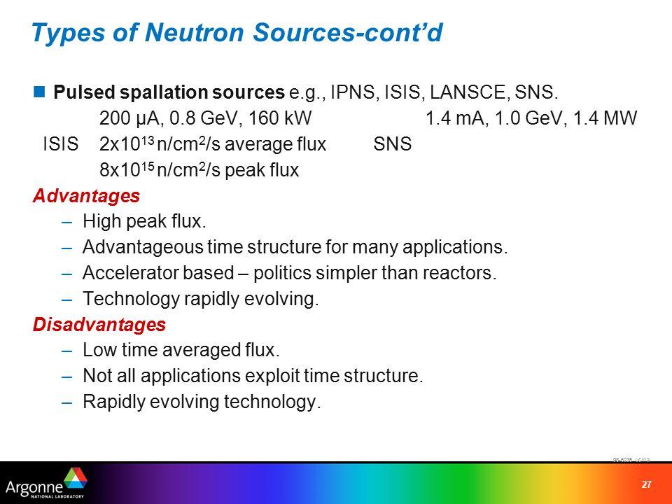 27 Types of Neutron Sources-cont'd Pulsed spallation sources e.g., IPNS, ISIS, LANSCE, SNS.