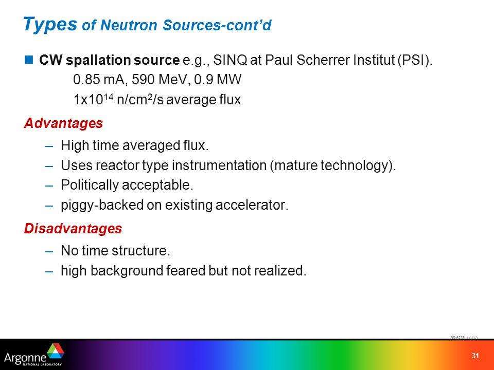 31 Types of Neutron Sources-cont'd CW spallation source e.g., SINQ at Paul Scherrer Institut (PSI).