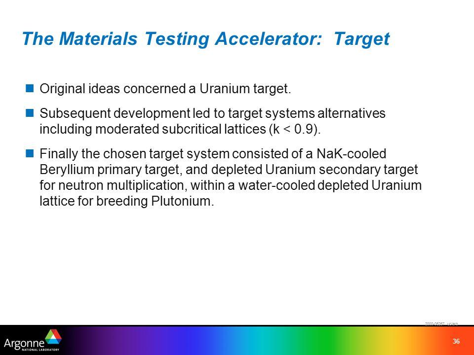 36 The Materials Testing Accelerator: Target Original ideas concerned a Uranium target.