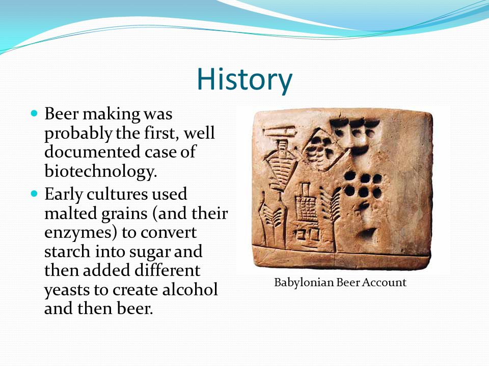 History Beer making was probably the first, well documented case of biotechnology.