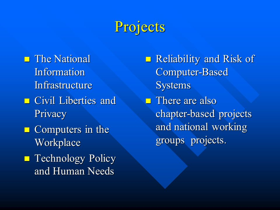 Projects The National Information Infrastructure The National Information Infrastructure Civil Liberties and Privacy Civil Liberties and Privacy Computers in the Workplace Computers in the Workplace Technology Policy and Human Needs Technology Policy and Human Needs Reliability and Risk of Computer-Based Systems There are also chapter-based projects and national working groups projects.
