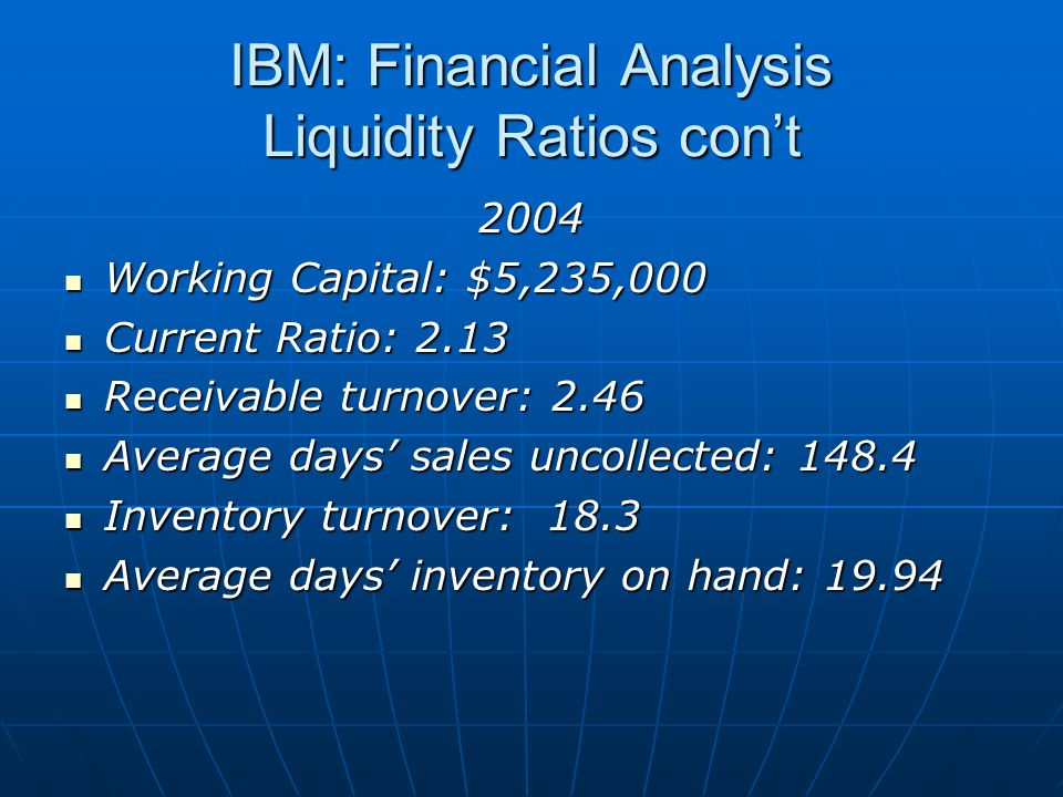 IBM: Financial Analysis Liquidity Ratios con't 2004 Working Capital: $5,235,000 Working Capital: $5,235,000 Current Ratio: 2.13 Current Ratio: 2.13 Receivable turnover: 2.46 Receivable turnover: 2.46 Average days' sales uncollected: 148.4 Average days' sales uncollected: 148.4 Inventory turnover: 18.3 Inventory turnover: 18.3 Average days' inventory on hand: 19.94 Average days' inventory on hand: 19.94