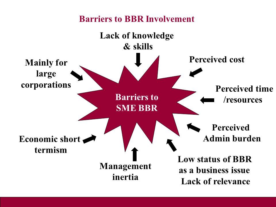 Barriers to BBR Involvement Management inertia Economic short termism Low status of BBR as a business issue Lack of relevance Perceived cost Perceived time /resources Perceived Admin burden Lack of knowledge & skills Mainly for large corporations Barriers to SME BBR