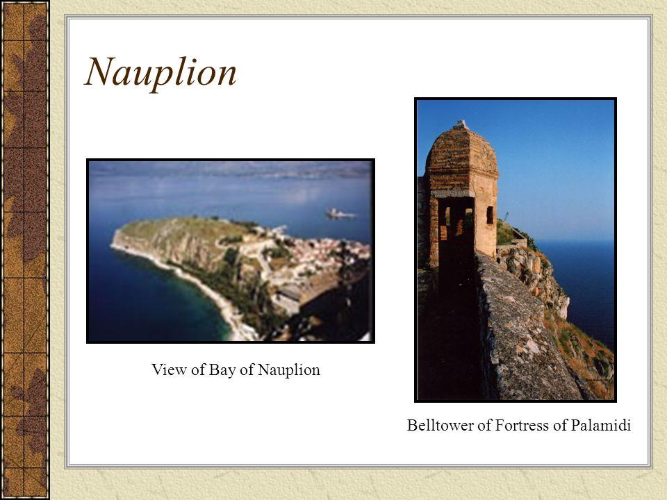 Nauplion Belltower of Fortress of Palamidi View of Bay of Nauplion