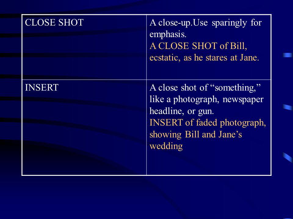 CLOSE SHOTA close-up.Use sparingly for emphasis.
