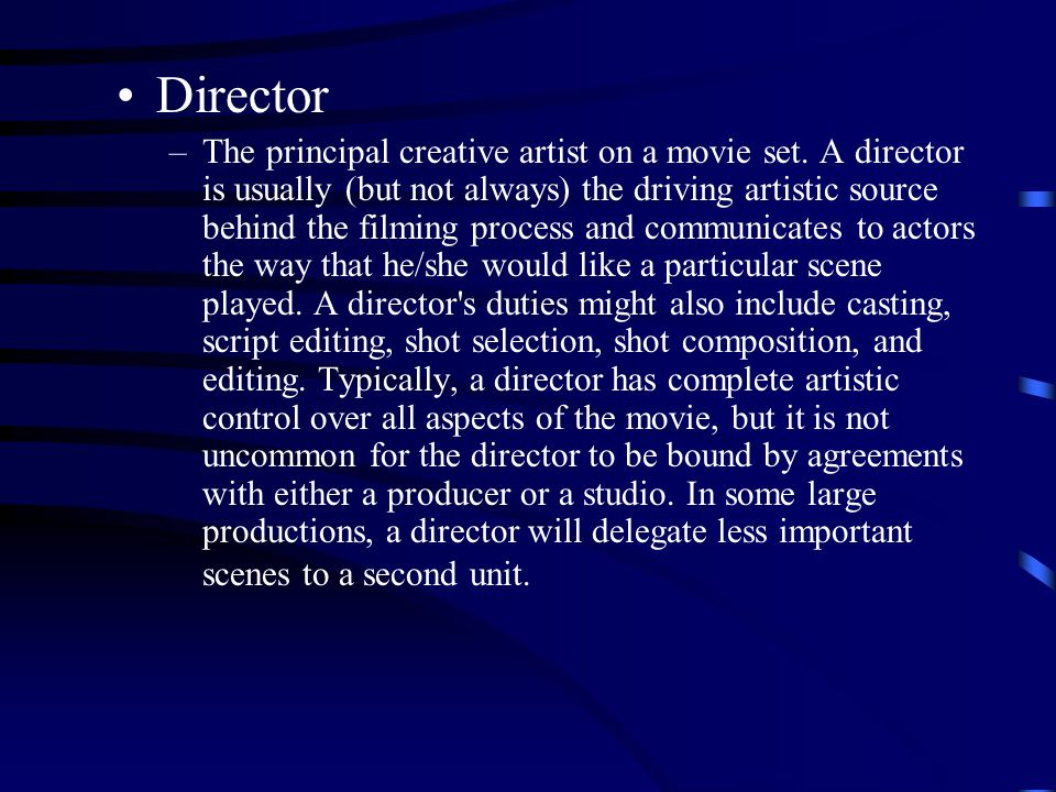 Director –The principal creative artist on a movie set.