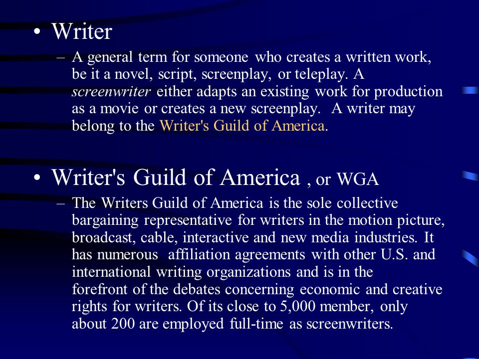 a brief introduction to writing screenplays in three parts  6 writer a general term for