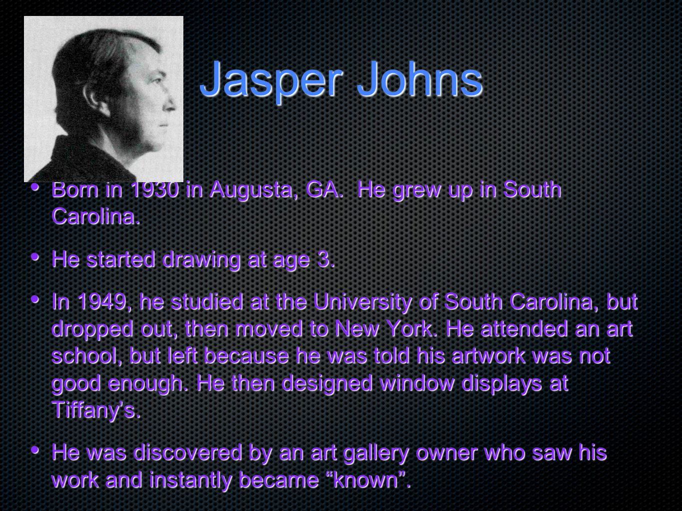 Jasper Johns: One of founders of Pop Art Three Flags was painted in 1958.