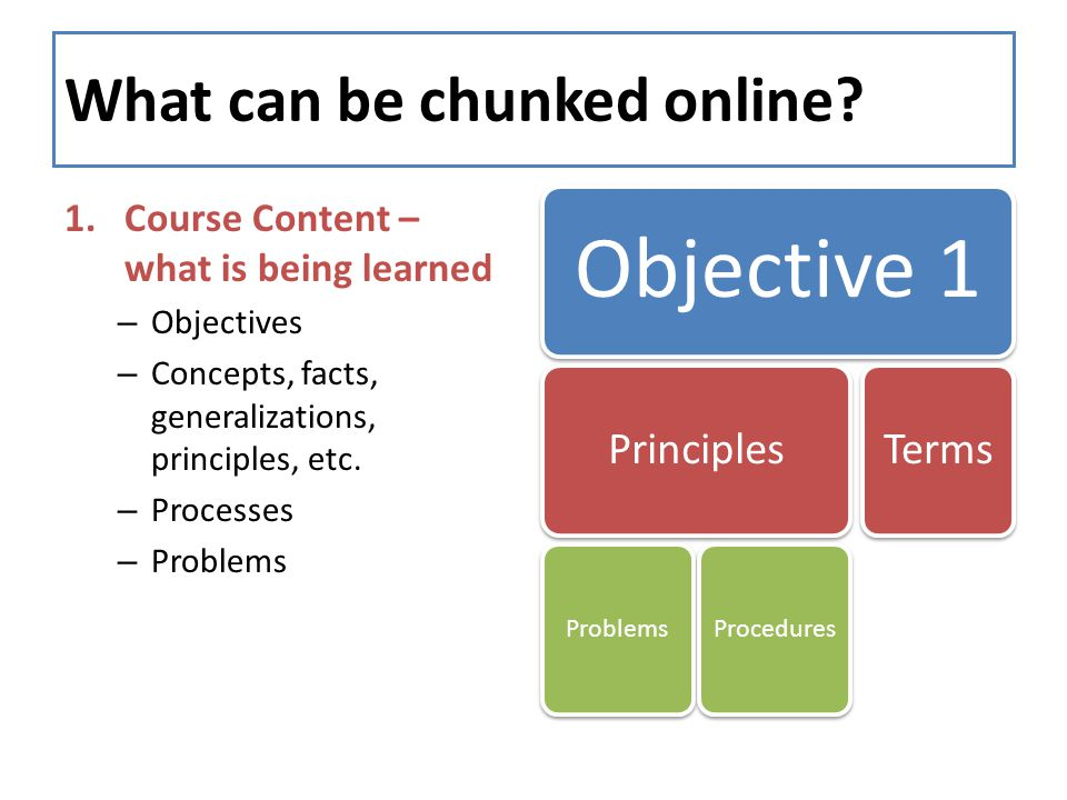 What can be chunked online? 1.Course Content – what is being learned – Objectives – Concepts, facts, generalizations, principles, etc. – Processes – P