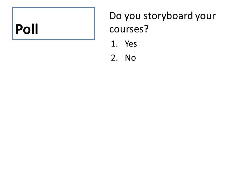 Poll Do you storyboard your courses? 1.Yes 2.No