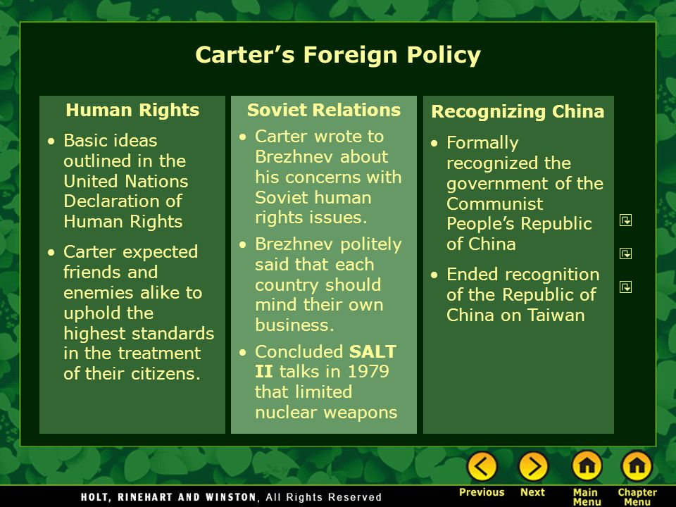 Human Rights Basic ideas outlined in the United Nations Declaration of Human Rights Carter expected friends and enemies alike to uphold the highest st