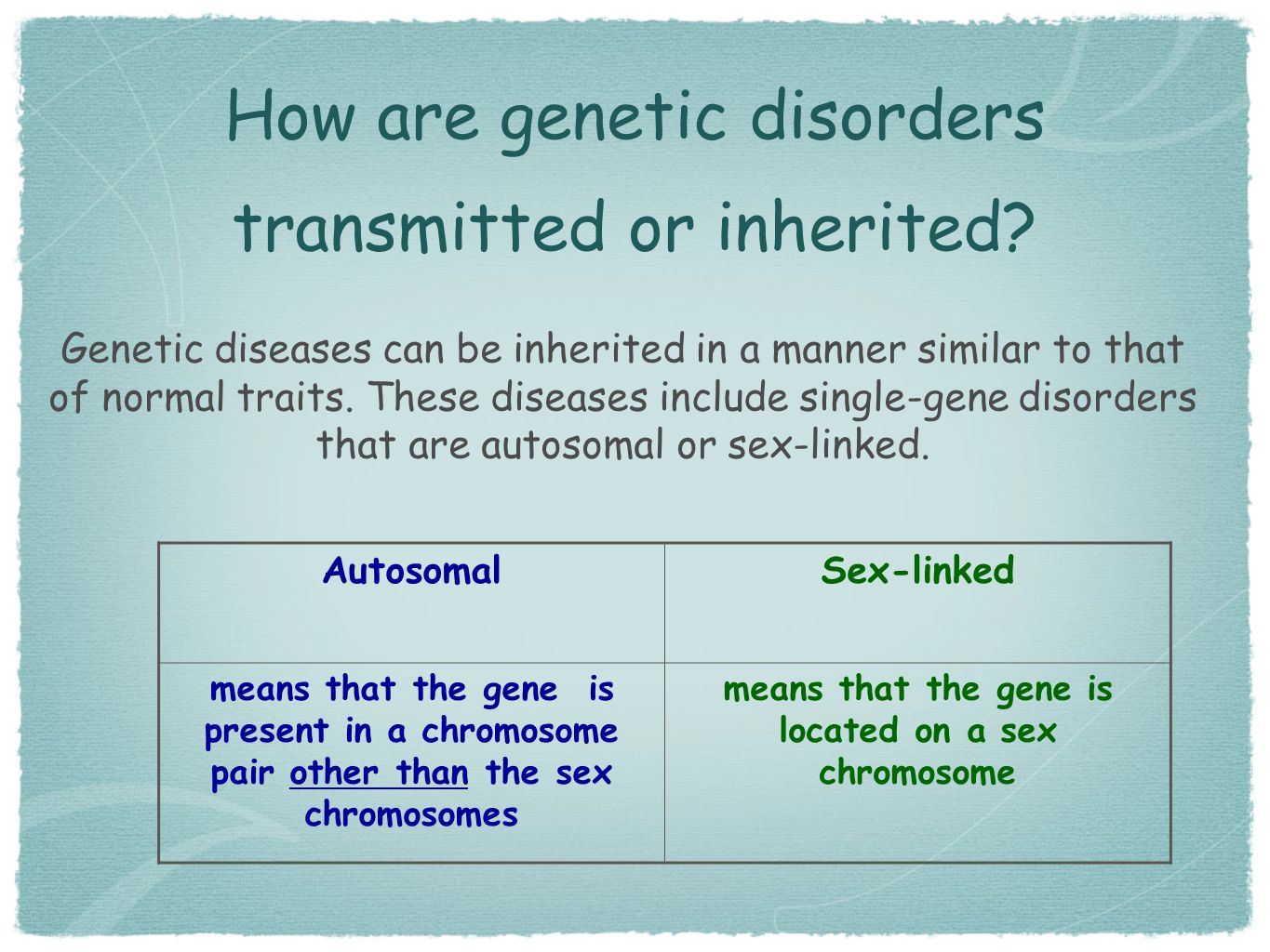 How are genetic disorders transmitted or inherited? Genetic diseases can be inherited in a manner similar to that of normal traits. These diseases inc