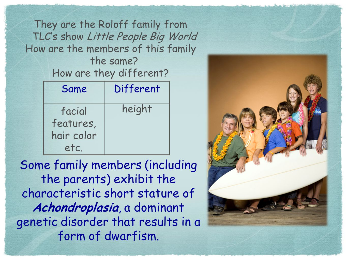 They are the Roloff family from TLC's show Little People Big World How are the members of this family the same? How are they different? SameDifferent