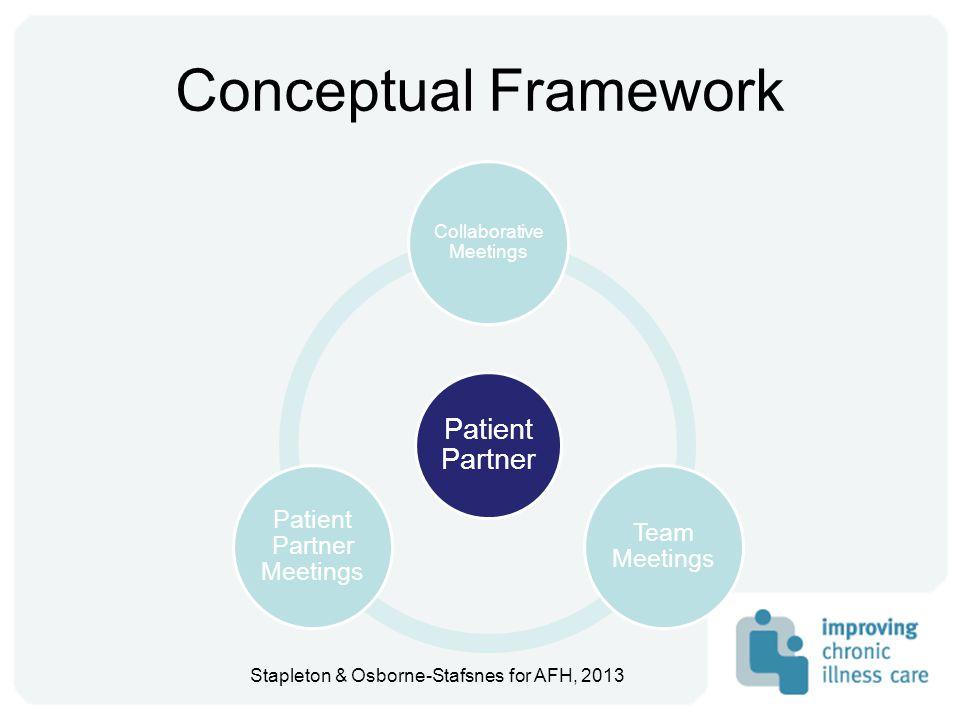 Conceptual Framework Patient Partner Collaborative Meetings Team Meetings Patient Partner Meetings Stapleton & Osborne-Stafsnes for AFH, 2013