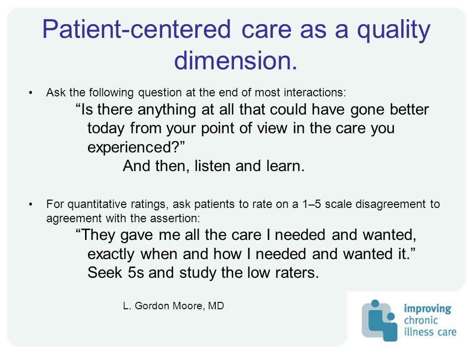 Patient-centered care as a quality dimension.