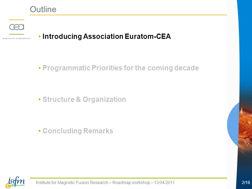 Institute for Magnetic Fusion Research – Roadmap workshop – 13/04/20112/16 Outline Introducing Association Euratom-CEA Programmatic Priorities for the coming decade Structure & Organization Concluding Remarks