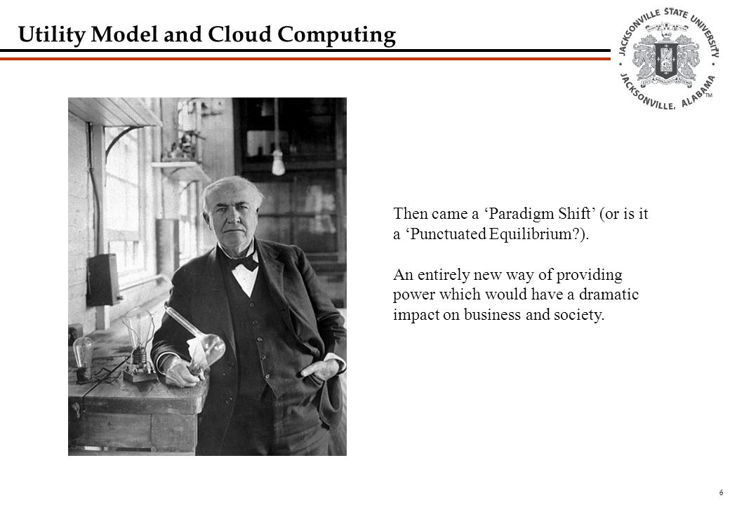 6 Utility Model and Cloud Computing Then came a 'Paradigm Shift' (or is it a 'Punctuated Equilibrium?).