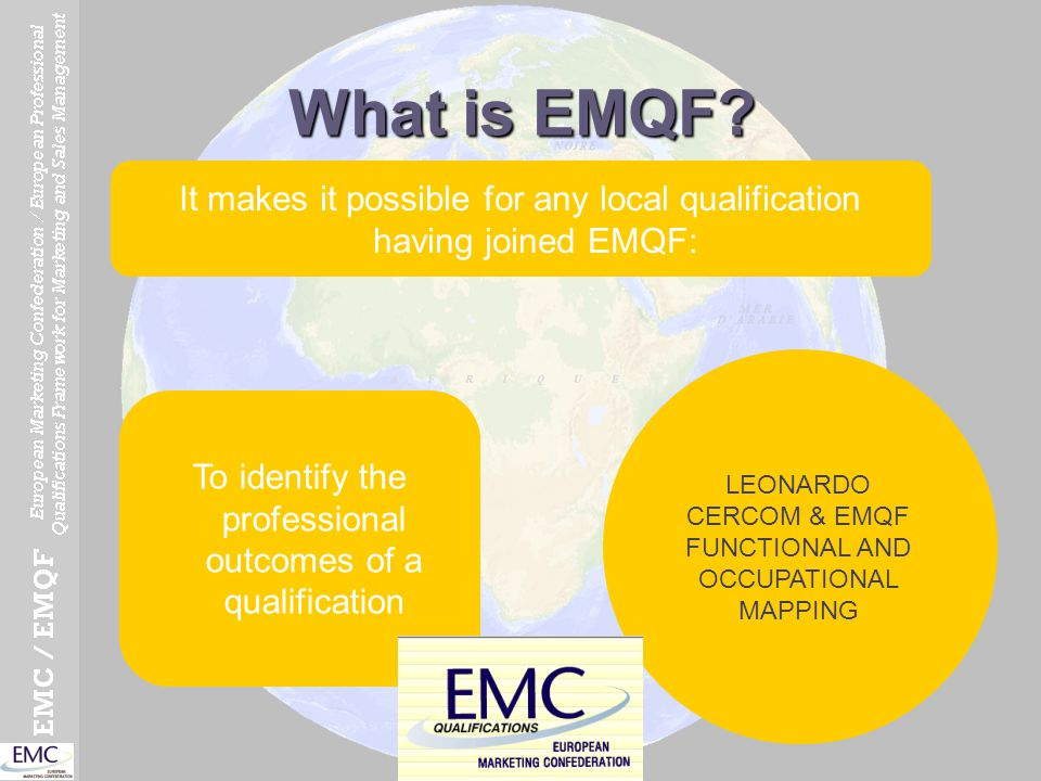 What is EMQF? It makes it possible for any local qualification having joined EMQF: To identify the professional outcomes of a qualification LEONARDO C
