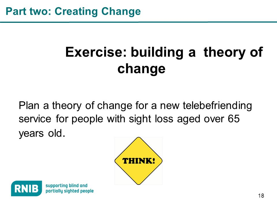Part two: Creating Change Exercise: building a theory of change Plan a theory of change for a new telebefriending service for people with sight loss aged over 65 years old.