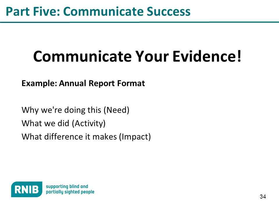 34 Part Five: Communicate Success Communicate Your Evidence.