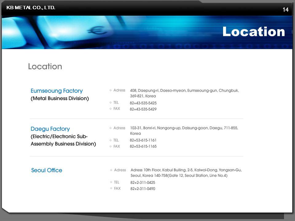 KB METAL CO., LTD. 14 Location