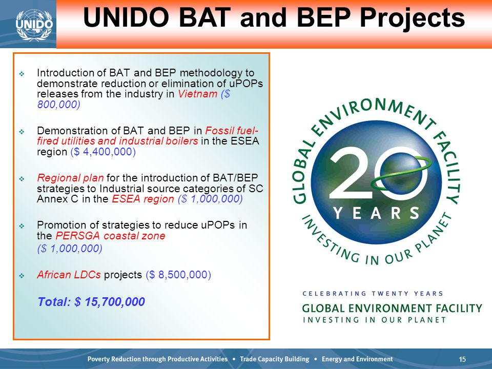 15  Introduction of BAT and BEP methodology to demonstrate reduction or elimination of uPOPs releases from the industry in Vietnam ($ 800,000)  Demonstration of BAT and BEP in Fossil fuel- fired utilities and industrial boilers in the ESEA region ($ 4,400,000)  Regional plan for the introduction of BAT/BEP strategies to Industrial source categories of SC Annex C in the ESEA region ($ 1,000,000)  Promotion of strategies to reduce uPOPs in the PERSGA coastal zone ($ 1,000,000)  African LDCs projects ($ 8,500,000) Total: $ 15,700,000 UNIDO BAT and BEP Projects