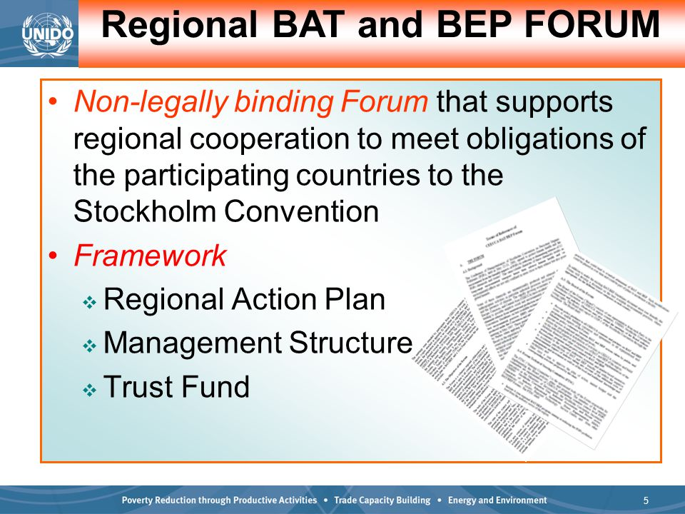6 Forum Management Structure BAT/BEP Forum Board (Member Countries, UNIDO, SC Secretariat) Forum Chair: (Rotational among Member States with an Administrative Secretariat) Co-Chair Member Countries (future Forum chair)  Representatives of Member Countries  UNIDO Representatives from the Stockholm Convention Unit and other related Units  Industrial Associations and Private sector  Ministry of Industry  Educational Institutions  Donor Representatives  NGOs/ Foundations/ Civil Society,  Representation from other BAT/BEP Forums Regional Technical Resources Service Centres/Regional Clearing House Co-Chair Donor Representative UNIDO Forum Technical Steering Committee