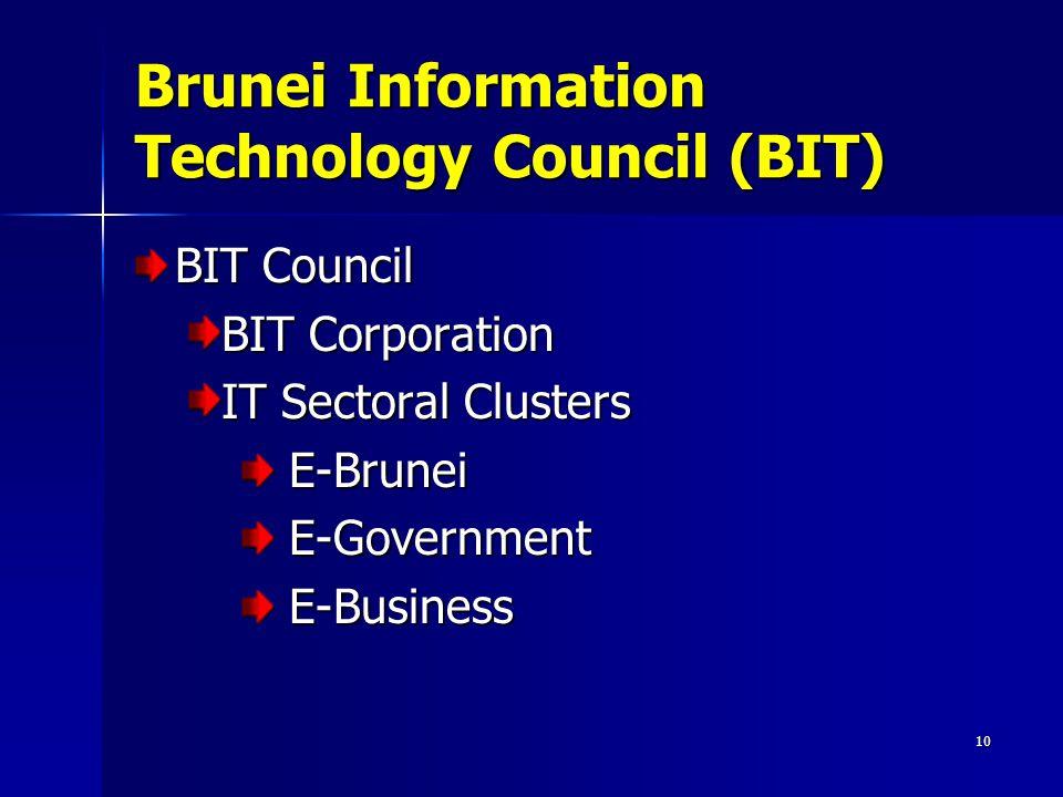 10 Brunei Information Technology Council (BIT) BIT Council BIT Corporation IT Sectoral Clusters E-Brunei E-Brunei E-Government E-Government E-Business