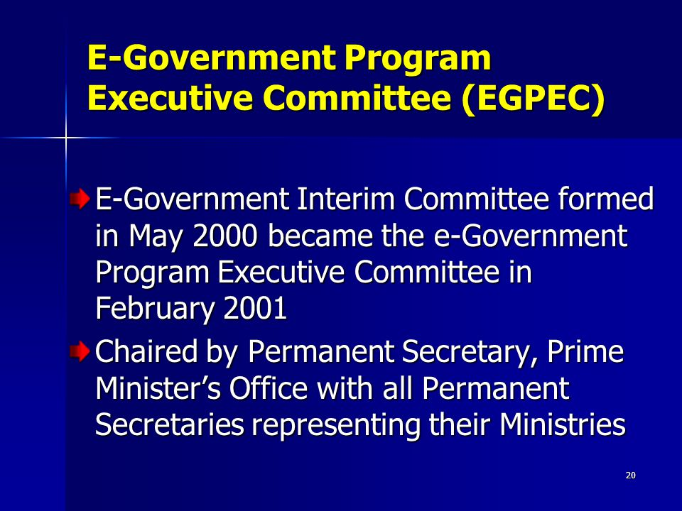 20 E-Government Program Executive Committee (EGPEC) E-Government Interim Committee formed in May 2000 became the e-Government Program Executive Committee in February 2001 Chaired by Permanent Secretary, Prime Minister's Office with all Permanent Secretaries representing their Ministries