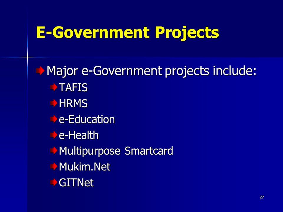 27 E-Government Projects Major e-Government projects include: TAFISHRMSe-Educatione-Health Multipurpose Smartcard Mukim.NetGITNet