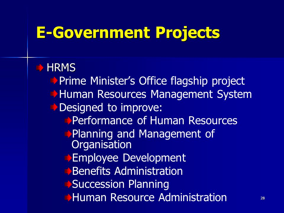 28 E-Government Projects HRMS Prime Minister's Office flagship project Human Resources Management System Designed to improve: Performance of Human Res